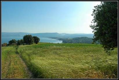 Mount-of-Beatitudes-hillside-and-Sea-of-Galilee,-tb032805817-bibleplaces