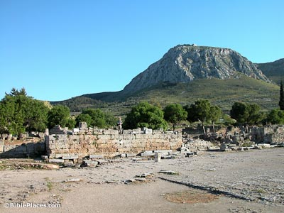Corinth-bema-and-Acrocorinth,-tb050803071-bibleplaces